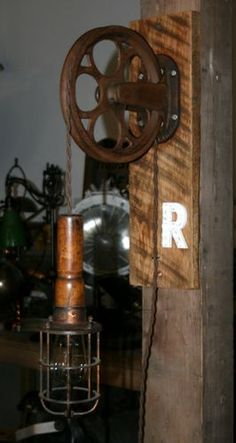 """Vtg Antique Industrial Steampunk """"R"""" Wall Lamp Pulley Work Cage Trouble Light"""
