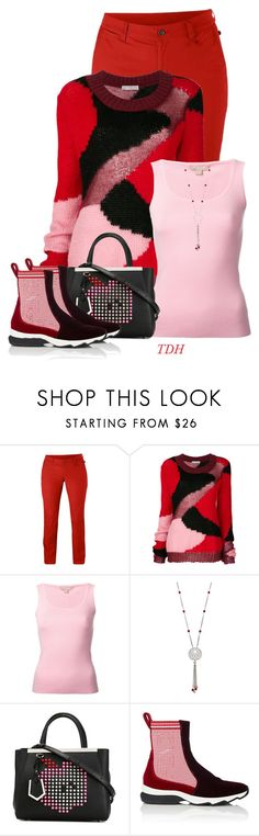"""""""Red & Pink"""" by talvadh ❤ liked on Polyvore featuring Fjällräven, Faith Connexion, Michael Kors and Fendi"""