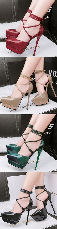 Shoespie Pointed Toe Banquet Lace-Up Platform Heel|Material:PU