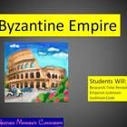 A great research project on the Byzantine Empire.  Common Core Standards for achievements in Roman Empire, specialization, how geography impacts on...'