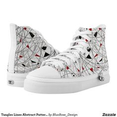 Tangles Lines Abstract Pattern Unisex High Tops Printed Shoes