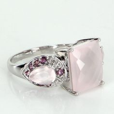 Rose Quartz Amethyst Diamond Cocktail Ring Vintage 10 Karat Gold Estate Jewelry