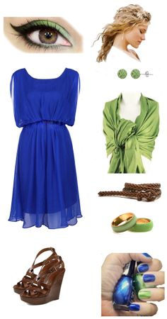 Civil wedding on the beach outfit. blue, green and brown. beach party polyvore