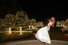 Founders Inn and Spa -	Virginia Venues - Lighted trees in a garden for wedding day portraits