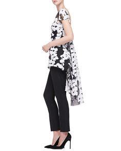 -5K4T Lela Rose Short-Sleeve Watteau-Back Top & Catherine Straight-Leg Pants