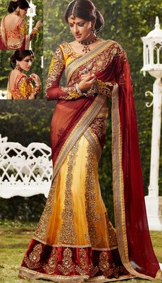 Get lehenga style saree for wedding for an amazing style quotient boost at amazing prices. Choose from a range of lehenga style sarees design, work & color. Lehanga Saree, Lehenga Style Saree, Red Lehenga, Patiala Salwar, Anarkali, Golden Lehenga, Yellow Lehenga, Net Saree, Indian Dresses