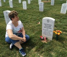 Sharon Wegener visiting her son, U.S.M.C. , Cpl Zachary Taylor Wegener at Arlington National Cemetery, Section 60, Grave 10222