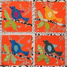 cute birds quilt- S likes the shape of these birds