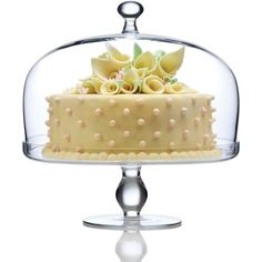 Luigi Bormioli Michelangelo Footed Cake Plate With Dome ($48) ❤ liked on Polyvore