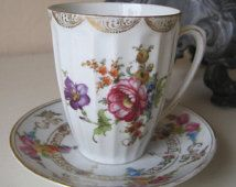 Antique Teacup and Saucer Demitasse Set Fine Porcelain Germany Floral Dresden