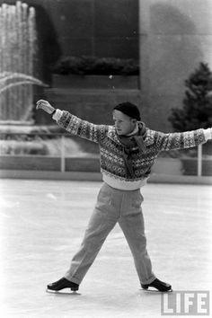 Truman Capote Ice Skating at Rockefeller Center