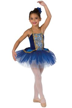 Style#  17186 RHAPSODY IN BLUE  Royal velvet and dior spandex leotard with sequin on mesh overlay and attached top skirt. Separate sequined royal glitter printed and copen tulle tutu. Sequin braid and metallic spandex binding trim. Headpiece included. XSC-XXLA