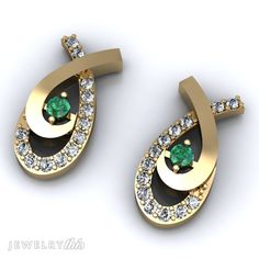 3D Jewelry Design: Stud (Post) Earring, Fish style [2549-106134] » Jewelrythis