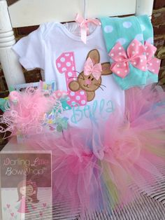 First Birthday Tutu Outfit perfect for bunny and Easter theme birthdays  www.darlinglittlebowshop.com