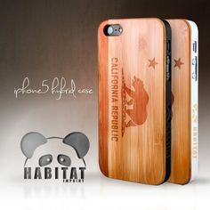 Iphone 5 Hybrid Bamboo Wood Case California Flag by HabitatImprint, $35.00