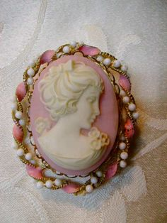 Vintage Pink Faux Cameo with Beaded Enamel Frame