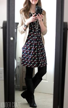 I would like to try this look: a dress with some leggings that I could wear with a jean jacket (already owned)