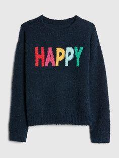 a2cba1d8fec Gap Girls Cozy Graphic Crewneck Sweater Dark Night Cool Patterns