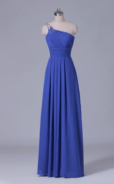 #bridesmaid One Shoulder Long Blue Chiffon Bridesmaid Dress