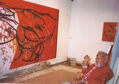 The Greek-American painter Theodoros Stamos  in his studio (Lefkada Island, Greece, 1993) //painting:Infinity Field-Lefkada Series E DA, 1993 //