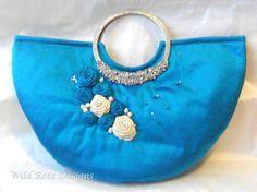 Blue silk Evening bag. Wedding bag. by MyWildRoseDesigns on Etsy