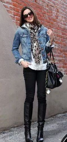 ❤ Faded denim jacket, black oblong leopard scarf, white shirt, black skinny jeans, riding boots & handbag