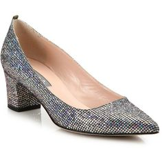 SJP by Sarah Jessica Parker Katrina Sequined Point Toe Block-Heel... ($365) ❤ liked on Polyvore featuring shoes, pumps, apparel & accessories, pointy toe shoes, pointed toe shoes, pointed toe pumps, silver block heel shoes and silver pumps