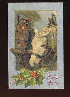 Christmas - Beautiful Horses with Holly~ c1907 Vintage Embossed Postcard-a381 #Christmas