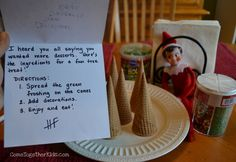 The fun with our Elf is continuing... (see his antics earlier this month ) Day 11 ~ He put up our Christmas wreath on the door ...