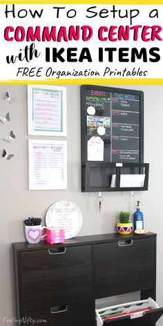Learn how to setup a simple & small family command center in your home, made with affordable Ikea Items. You don't need much space to create a command center. It can be in any small space, corner, apa Ikea Organisation, Family Organization Wall, Small Apartment Organization, Family Organizer, Apartment Entryway, Organization Ideas, Kitchen Organization, Kitchen Storage, Ikea Kitchen