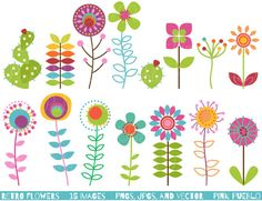 Retro Flowers Clipart & Vectors by PinkPueblo on Creative Market