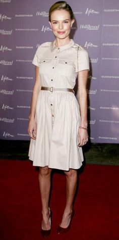 Look of the Day › December 8, 2011 WHAT SHE WORE Bosworth dined at The Hollywood Reporter's Women In Entertainment breakfast in a taupe Mulberry shirtdress and patent leather pumps