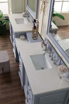 James Martin De Soto Collection 118 Inch Double Vanity Set, Silver Gray with Makeup Table, 3 CM Carrara Marble Top Bathroom Vanity Store, Double Sink Bathroom, Modern Master Bathroom, Minimalist Bathroom, Bathroom Vanities, Sinks, Master Bathrooms, Remodel Bathroom, Bathroom Fixtures