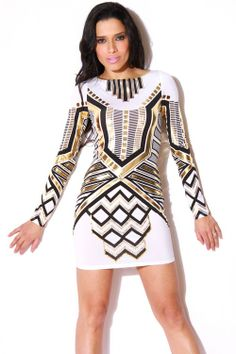 Sexy light gold short dress features a cut out neckline and cap ...