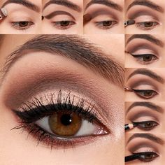 Steps: 1. Start with a beige eyeshadow swept across the brow bone. 2. Next, define the crease of the upper lid with a matte dark brown eyeshadow as shown. 3. Use a blending brush to smudge the dark brown color upwards. 4. Apply a shimmery champagne-colored eyeshadow below the crease and inner corner. 5. Use a precision brush and black cream eyeliner to create a fine cat-eye. 6. Choose a bronze eyeshadow and apply under the lash line to the lower lid. 7. Then, carefully apply black pencil…