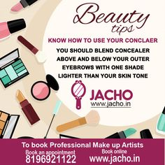 ‪#‎Jacho‬ ‪#‎BeautyTip‬ about ‪#‎Makeup‬ and ‪#‎Concealer‬. To book certified and well trained professional ‪#‎MakeupArtist‬, contact 8196921122 or visit www.jacho.in