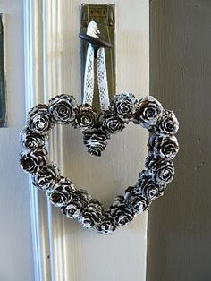 DIY Pine Cone Heart - Pine Cones are a great material for wreaths. We love this heart wreath for a wedding! Online source and sale of pine cones and pine needles. Pine cones for crafts, art and decor. Heart Shaped Pine Cone Wreath Rustic decor Wreath by F Pine Cone Art, Pine Cone Crafts, Wreath Crafts, Pine Cones, All Things Christmas, Christmas Time, Christmas Wreaths, Christmas Decorations, Winter Wreaths