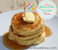 The BEST pancake recipe HANDS down...perfectly soft and fluffy with great flavor and REAL buttermilk! Make them mini for Easter Sunday Brunch!