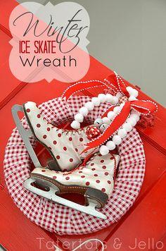 Winter Ice Skate Wreath. Vintage ice skates, polka dots, gingham ribbon, pompom trim -- too cute!