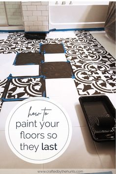 DIY Painted Tile Floors Learn how to paint your tile floors so that are durable. Learn which paint works best and see how well it holds up over a year. Must read before painting your tile floors! Transform your bathroom tiles with paint! Painting Ceramic Tile Floor, Stenciled Tile Floor, Painting Bathroom Tiles, Tile Floor Diy, Painting Tile Floors, Bathroom Floor Tiles, Diy Painting, Paint Tiles, Diy Floor Paint