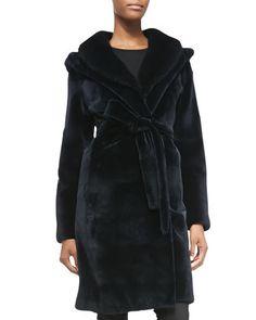 Yes, please!  Mink Fur Hooded Tie-Waist Coat by J. Mendel at Neiman Marcus.