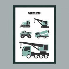 Poster Werktuigen Big Boys, Little Boys, Kidsroom, Children's Place, Baby Room, Baby Kids, Twins, Poster, Design