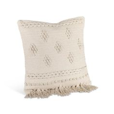 "This square pillow is sure to make a beautiful accent piece in your home! The pillow measures 18""L X 18""W and is colored ivory. The stylish pillow will tie any room décor together and is filled with 100% polyester extra support and form."