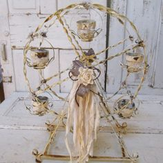 Metal Ferris wheel home decor candle holder large vintage display chalky white rusty cottage chic centerpiece Anita Spero Design