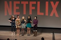 The cast of Project Mc² greets Girl Scouts at Netflix HQ.  From left to right: Belle Shouse (Ember), Ysa Penarejo (Camryn), Victoria Vida ...