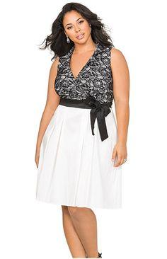 59e6251855b Lovey summer dress from Ashley Stewart Lace Bodice Taffetta Dress Big Size  Fashion