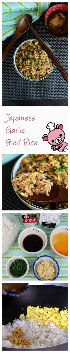 """Simple, yet utterly packed with immense umami flavor, this humble Japanese Garlic Fried Rice is the perfect answer to the question """"what shall i do with all this leftover rice??"""" Every single grain is laced with that garlicky goodness that just bursts in your mouth."""
