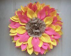 Sunflower Wreath Yellow Burlap Sunflower by ValsShabbyShack
