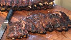 Brazilian style ribs, marinated and grilled up on my Argentine grill! Barbecue Recipes, Bbq, Pork Ribs Grilled, Argentine Grill, Smoking Meat, Steak, Grilling, Cooking, Food