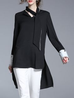 Shop Tunics - Black Casual High Low Color-block Solid Tunic online. Discover unique designers fashion at StyleWe.com.